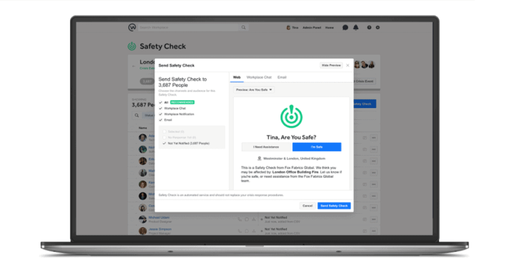 Safety Check feature image for Workplace from Facebook blog