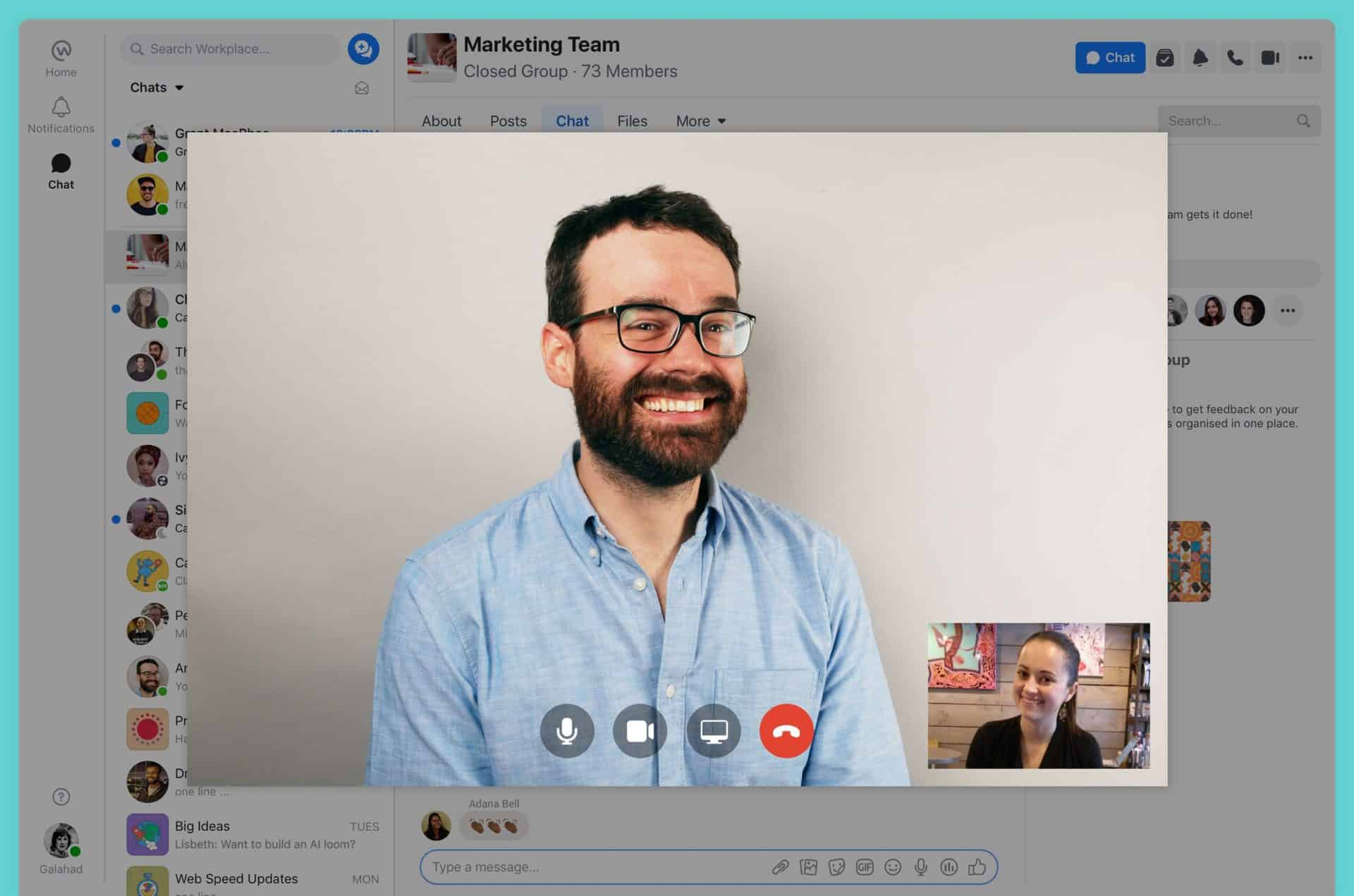 Video chat in Workplace from Facebook